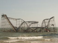 Storm damanged roller coaster